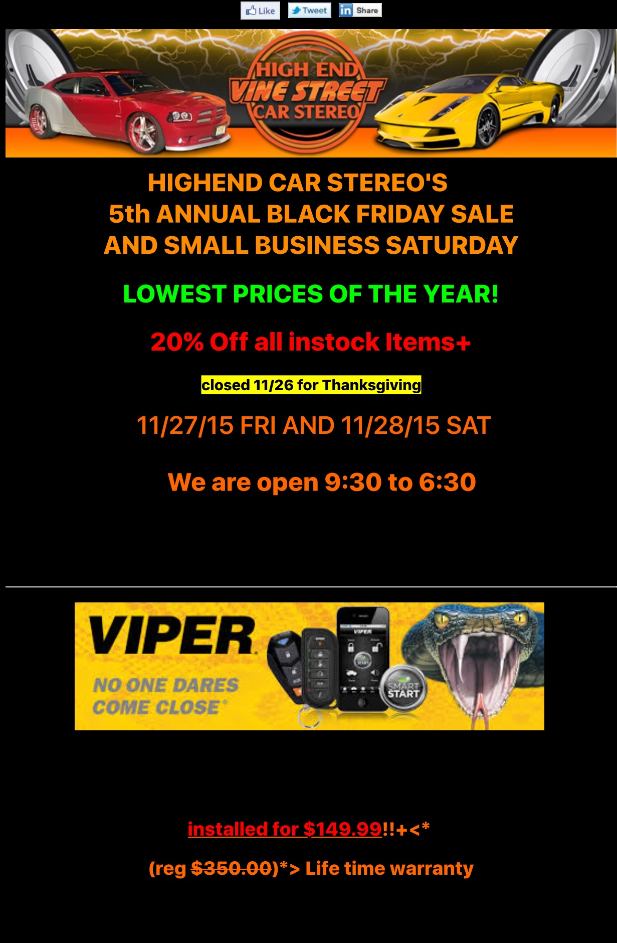 black friday and small business saturday sale in philadelphia high end car stereos alarms. Black Bedroom Furniture Sets. Home Design Ideas